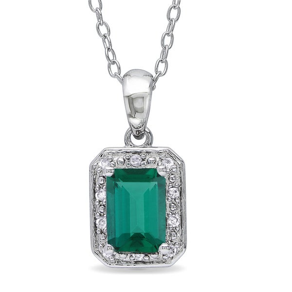 Miadora 10k White Gold Created Emerald and Diamond Accent Necklace