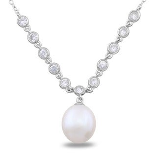 M by Miadora Sterling Silver Cubic Zirconia and Pearl Necklace (9-9.5 mm)
