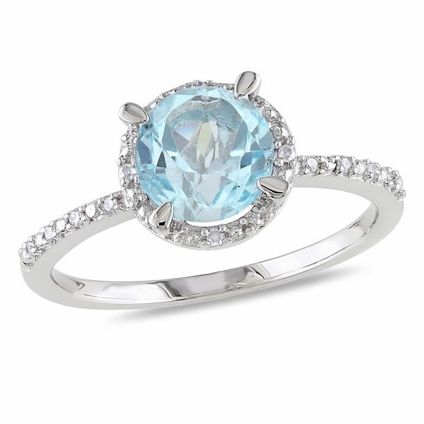 Miadora Sterling Silver Blue Round Topaz and Diamond Accent Ring