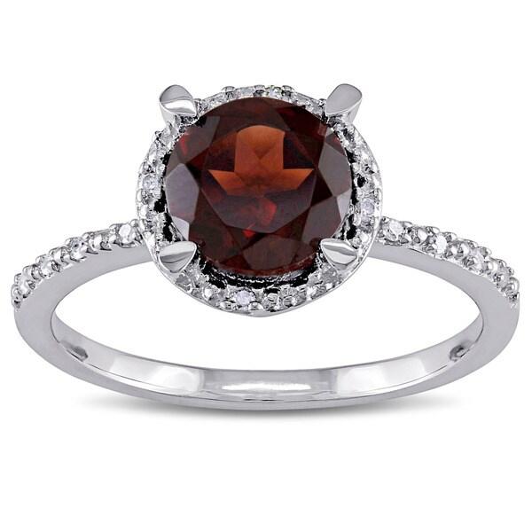 Miadora Sterling Silver Garnet and Diamond Accent Ring
