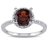 Miadora Sterling Silver Garnet and Diamond Accent Ring
