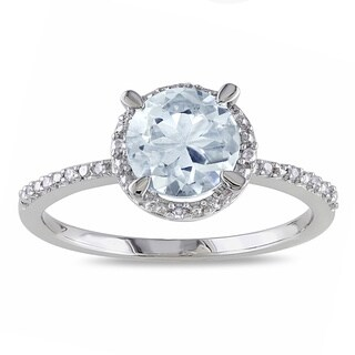 Miadora Sterling Silver Blue Round Aquamarine and Diamond Accent Ring