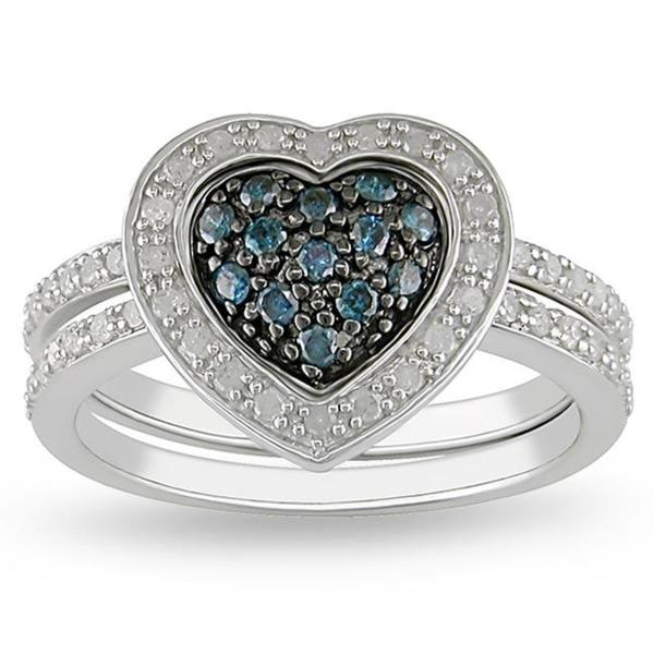Miadora Sterling Silver 3/8ct TDW Blue and White Diamond Ring Set