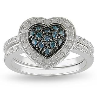 miadora sterling silver 38ct tdw blue and white diamond ring set - Heart Wedding Ring Set