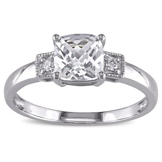 Miadora 10k White Gold Created White Sapphire and Diamond Accent Ring