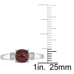 Miadora 10k White Gold Garnet and Diamond Accent Ring