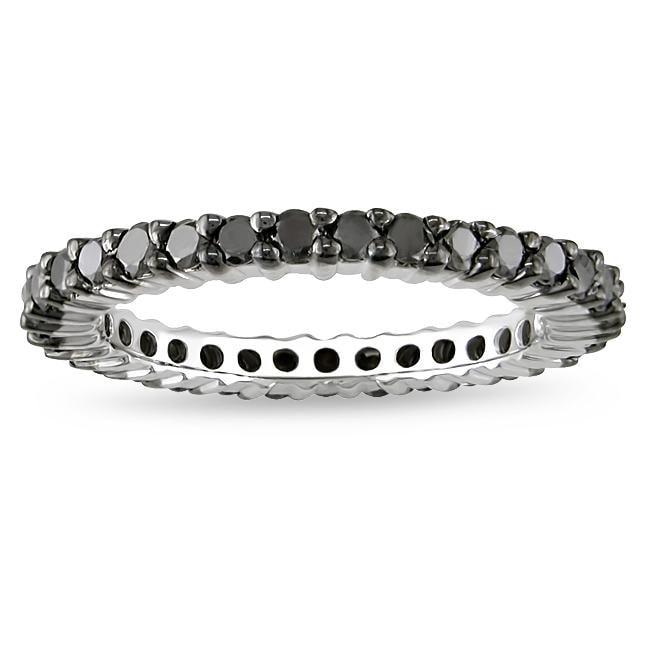 Miadora Sterling Silver 1ct TDW Black Diamond Eternity Ring