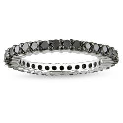 Miadora Sterling Silver 1ct TDW Black Diamond Eternity Ring - Thumbnail 0
