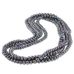 New York Pearls Black FW Potato Pearl 100-inch Endless Necklace (7 mm)