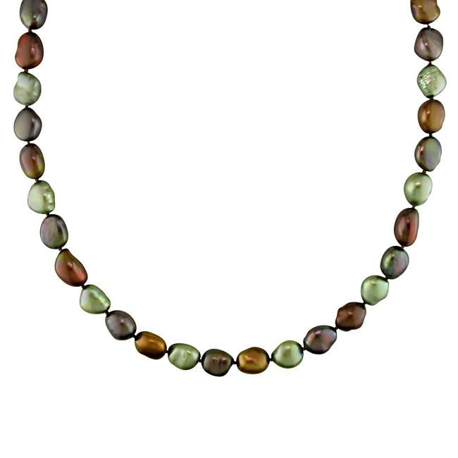 Miadora New York Pearls Multi-colored FW Pearl 32-inch Endless Necklace (9-10 mm)