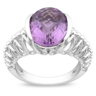 Miadora Gems Sterling Silver Purple Oval Amethyst Ring