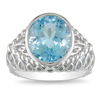 Miadora Sterling Silver Oval Blue Topaz Ring