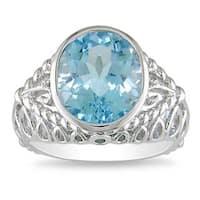 Miadora Sterling Silver Oval Blue Topaz Ring