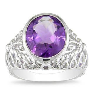 Miadora Gems Sterling Silver Oval-Cut Amethyst Fashion Ring