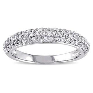 Miadora 10k White Gold 1/2ct TDW Pave Diamond Ring
