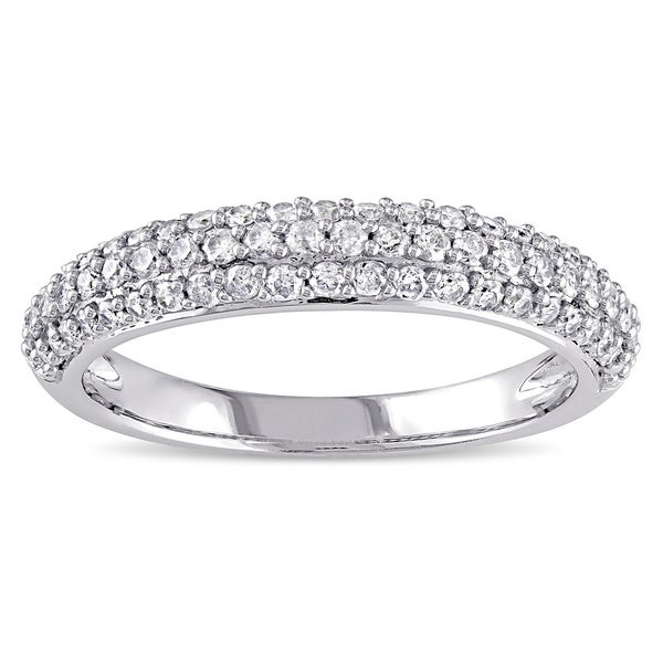 Miadora 10k White Gold 1/2ct TDW Pave Diamond Ring