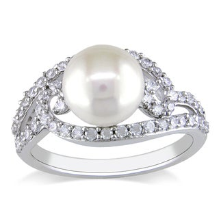 Miadora Sterling Silver Cubic Zirconia and Pearl Ring (8-8.5 mm)