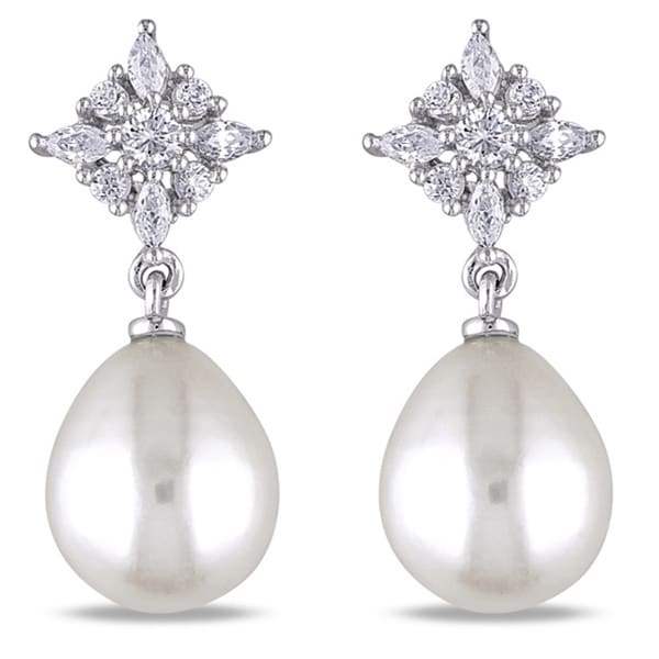 Miadora Sterling Silver Cubic Zirconia and White Pearl Earrings (9-9.5 mm)