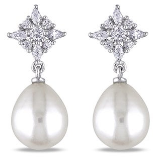 Miadora Sterling Silver Cubic Zirconia and White Pearl Earrings (9-9.5 mm)|https://ak1.ostkcdn.com/images/products/5618275/P13377154.jpg?_ostk_perf_=percv&impolicy=medium