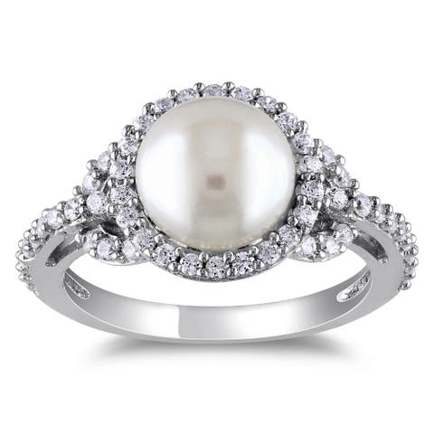 Miadora Sterling Silver Cubic Zirconia and Pearl Ring (8.5-9 mm)