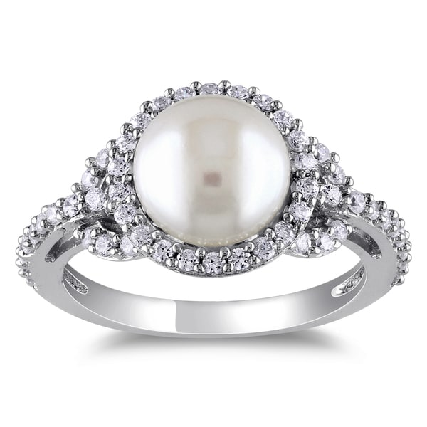 c024eff91 Shop Miadora Sterling Silver Cubic Zirconia and Pearl Ring (8.5-9 mm ...