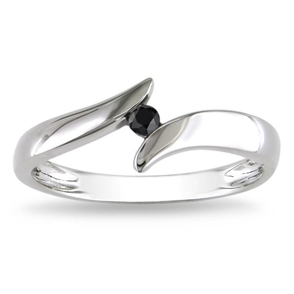 Miadora 10k White Gold Black Diamond Ring