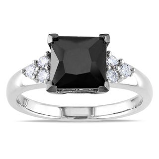 Miadora Sterling Silver Square-cut Black Cubic Zirconia Engagement Ring