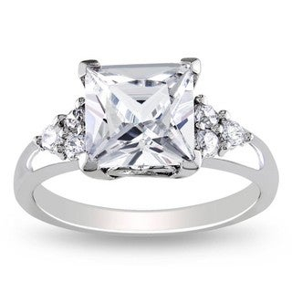 Miadora Sterling Silver Square-cut Cubic Zirconia Engagement Ring