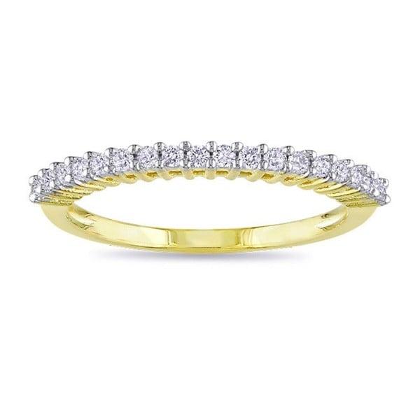 Miadora Yellow Plated 1/5ct TDW Diamond Wedding Band