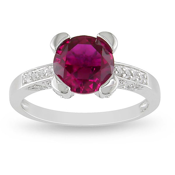 Miadora Sterling Silver Created Ruby and Cubic Zirconia Ring