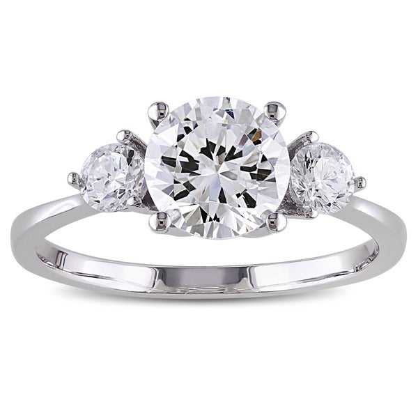 M by Miadora Sterling Silver Round-cut Prong-set Cubic Zirconia Engagement Ring