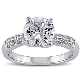 Miadora Sterling Silver Prong-set Clear Cubic Zirconia Engagement-style Ring