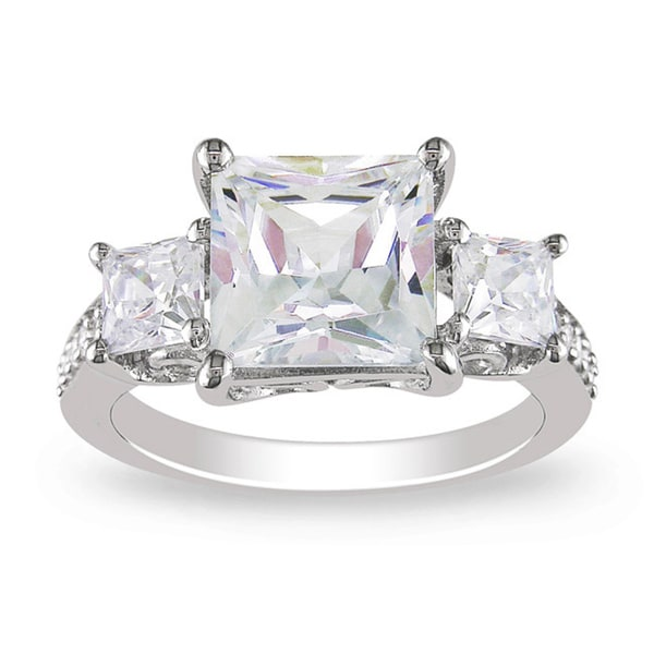 M by Miadora Sterling Silver Square-cut Clear Cubic Zirconia Engagement-style Ring
