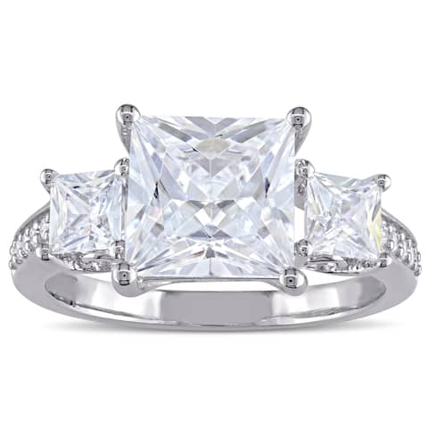 Miadora Sterling Silver Square-cut Cubic Zirconia 3-Stone Engagement Ring