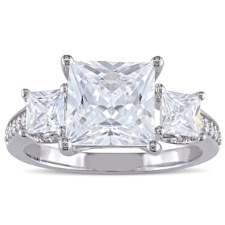 Link to Miadora Sterling Silver Square-cut Cubic Zirconia 3-Stone Engagement Ring Similar Items in Rings