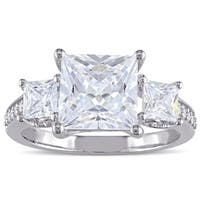 Miadora Sterling Silver Square-cut Clear Cubic Zirconia Engagement-style Ring