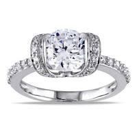 Miadora Sterling Silver Round-cut Clear Cubic Zirconia Fashion Ring