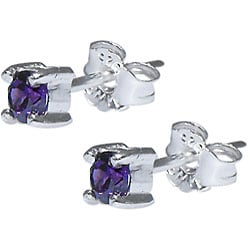 Sterling Silver Purple Cubic Zirconia Stud Earrings - Thumbnail 1