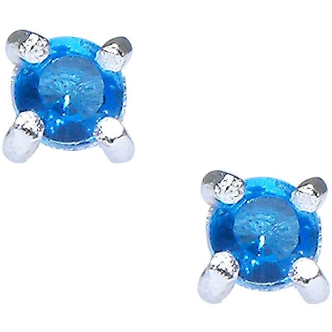 Sterling Silver Blue Cubic Zirconia Stud Earrings