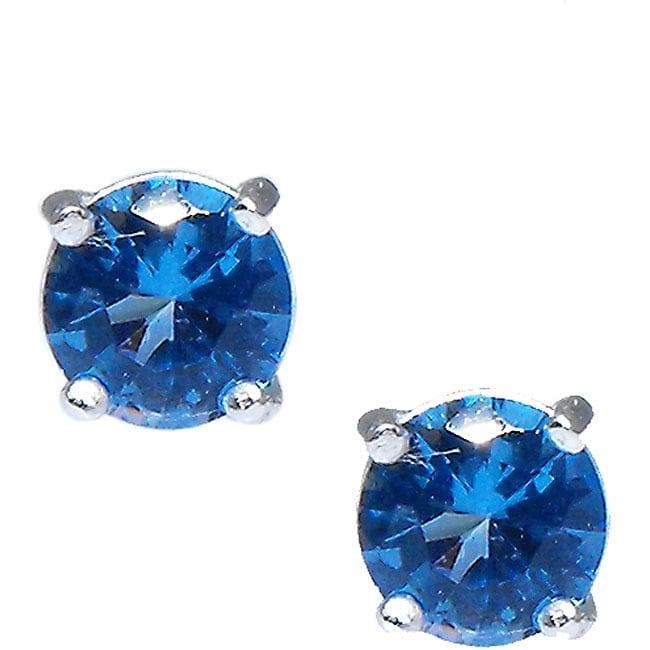 Sterling Silver Swiss Blue Cubic Zirconia Stud Earrings