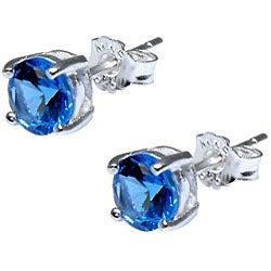 Sterling Silver Swiss Blue Cubic Zirconia Stud Earrings - Thumbnail 1