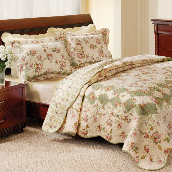 Greenland Home Fashions Bliss Ivory Full/ Queen-size 3-piece Quilt ...