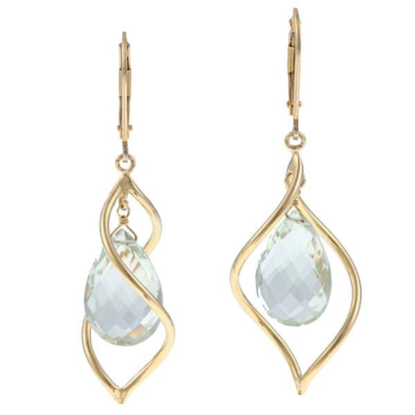 Zoe B 14k Gold over Sterling Silver Green Amethyst Earrings