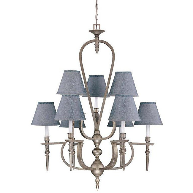 Coventry 9-light Classic Pewter Chandelier - Thumbnail 0