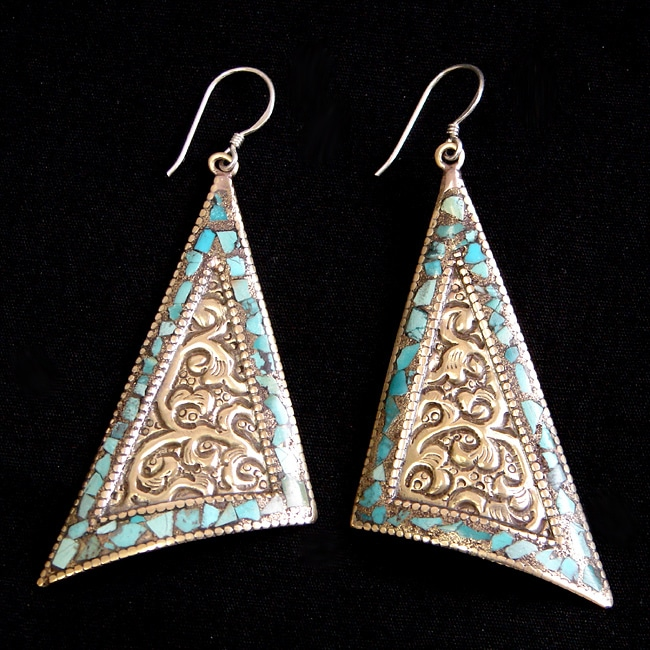 Brass and Sterling Silver Turquoise Triangle Earrings (Nepal) - Thumbnail 0