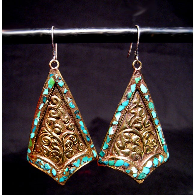 Brass and Sterling Silver Turquoise 3-point Earrings (Nepal)