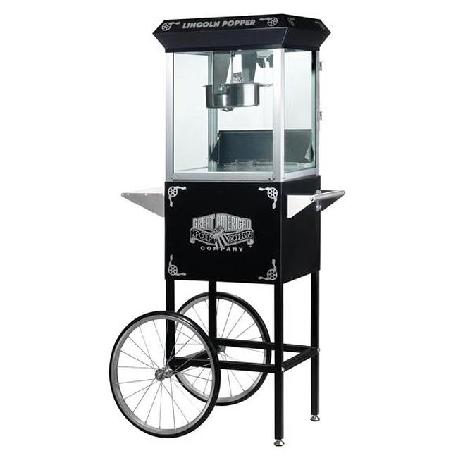 Lincoln Black 6005 8-oz Antique Popcorn Machine and Cart