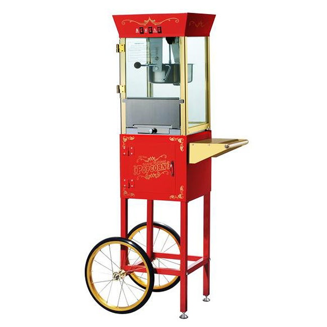 Red 6086 Matinee Movie 8-oz Antique Popcorn Machine and Cart - Thumbnail 0