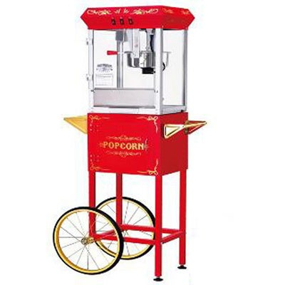 Red 6097 8-ounce Foundation Popcorn Machine and Cart