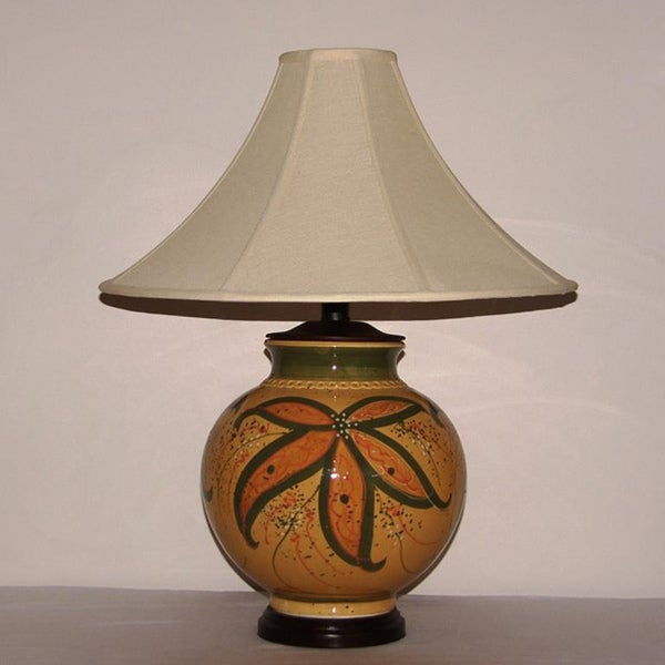 Shop Honey Mustard With Green Floral Accent Ceramic Table Lamp With